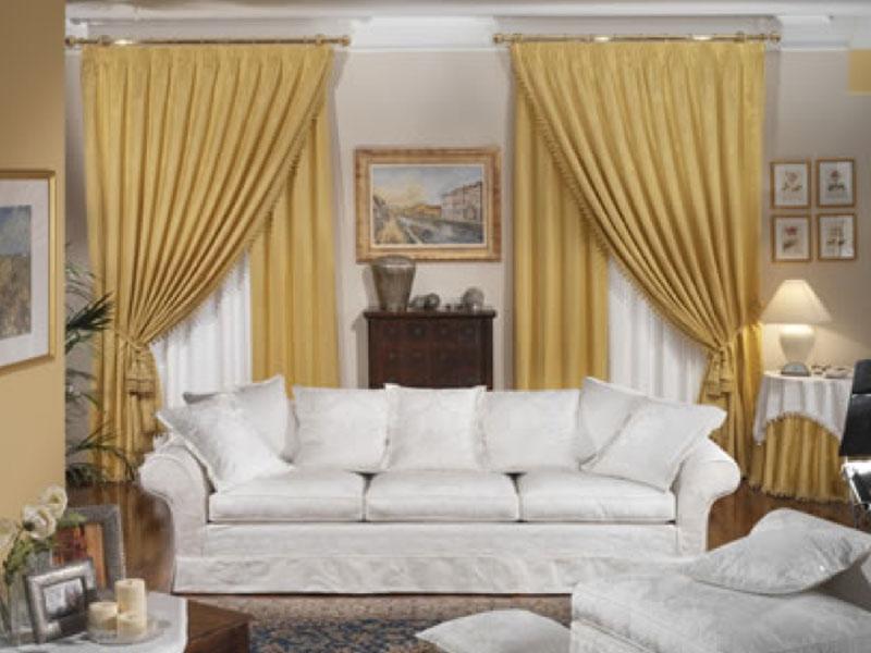 Tende da salone tenda in taffeta su bastone con fiocco - Tende shabby camera da letto ...